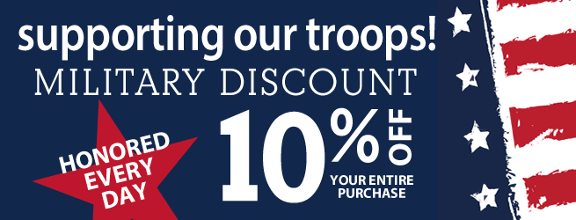 Support Our Troops! - Military Discount - 10% Off Your Entire Purchase